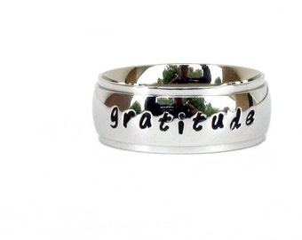 Gratitude- Ring Stainless Steel Jewelry Inspirational Message Ring Hand Stamped