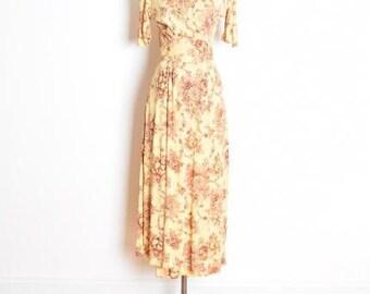 vintage 70s dress, 70s wrap dress, 70s maxi dress, hippie dress, floral print dress, yellow dress, 1970s 70s clothing, long dress, M medium