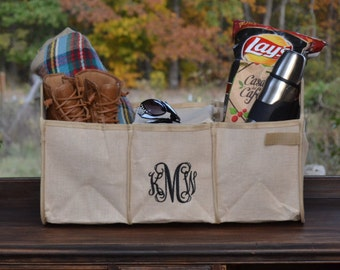 Car Organizer ~ Jute Trunk organizer~A super mommy must have ~ Perfect for Tailgating!