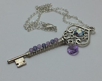 Purple Ice Key Necklace ~ Swarovski Crystal Necklace ~ Skeleton Key Necklace ~ Crystal Key Necklace ~ Wire Wrapped Key Necklace