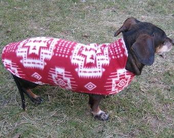 Dachshund Jacket~Red and Ivory Southwestern Print~Reversible Fleece Dog Jacket~Soft Double Fleece Dog Coat~Dachshund Clothes~Dog Coat~