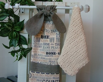 Hanging Country Kitchen Towel and Dish Cloth Set; Hanging Towel; Tie on Kitchen Towel Set; Cotton Crochet Dish Cloth; Gingham Kitchen Towel