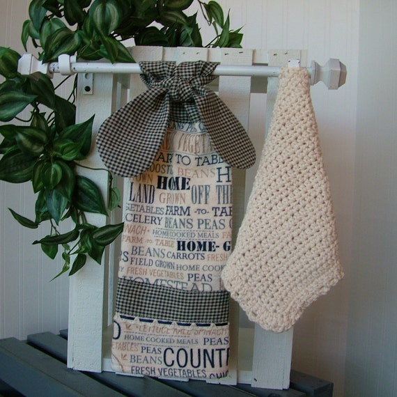 Hanging Country Kitchen Towel And Dish Cloth Set Hanging