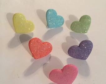 Glittery Heart Pins!
