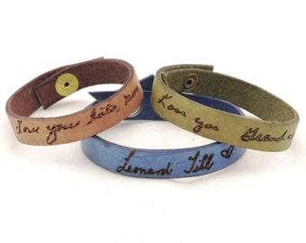 custom signature bracelet, memorial jewelry, handwriting bracelet, memorial gift, handwriting jewelry, childrens artwork, snap button