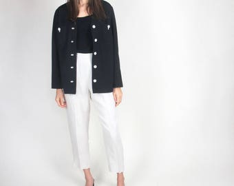 Contrast white stitching & buttons jacket / S-M / vintage black button-down patch pocket boxy simple minimalist V-neck no collar