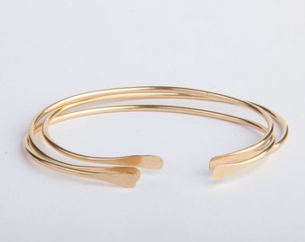 Set of Three Simple Gold Bracelets, Open Stacking Bangle, Cuff Bracelet, Gold Filled or Sterling Silver, Layering Jewelry, Handmade