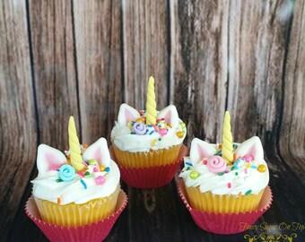Edible fondant Unicorn cupcake topper set DIY