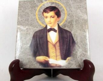 St Dominic Savio - catholic saints serie - collectible religious icon on tile - Saint Dominic Savio - catholic saint - Dominic Savio gift
