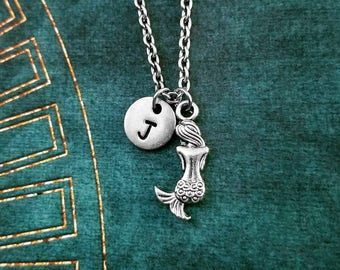 Mermaid Necklace Mermaid Jewelry Mermaid Charm Necklace Beach Jewelry Fantasy Jewelry Mermaid Pendant Necklace Personalized Initial Letter