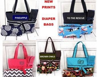 Diaper Bags--Monogrammed/ Baby Gift/ Boys/ Girls- NEW PRINTS