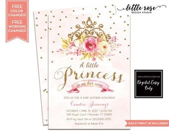 Little Princess Baby Shower Invitation - Princess Birthday Invite - Princess Party Invitation - Pink and Gold - Printable LR1073