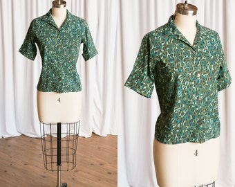 Explorer Society blouse | vintage 50s blouse | green cotton print blouse | 60s buttondown blouse | 1950s button down shirt | novelty print