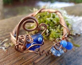 Up-cycled Copper Bracelet - Copper Bracelet - Beaded Bracelet - Glass Bead Bracelet - Handmade Jewelry - Lampwork Bead - Gift For Her