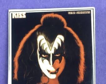 KISS Gene Simmons Original 1980s Vintage Dead Stock Square Pin