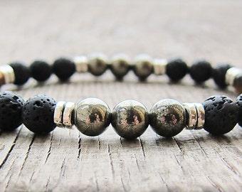 Mens Bracelet Pyrite bracelet Bead Bracelet Protection Bracelet Gemstone bracelet Gifts for men Gift for husband Mens gifts for boyfriend