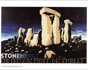 vintage advert Shell petrol motor oil Stonehenge New Forest England ad advertisement home decor gift for car lover print 8.25 x 11.75 inches