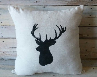 Deer Silhouette Pillow Cover, Throw Pillow, Accent Pillow, Couch Cushion, Rustic Pillow