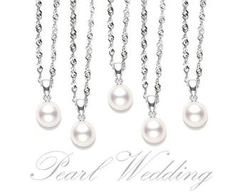 Bridesmaids Necklace Set. 5x Pearl Necklaces. 925 Sterling Silver necklace. Bridesmaids Set. Bridesmaids Gift.