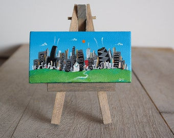 "Mini Chicago Skyline, hand painted, with easel  ooak original by Joe Smigielski, 2x4 inches, acrylic, ""Summer Chicago"""