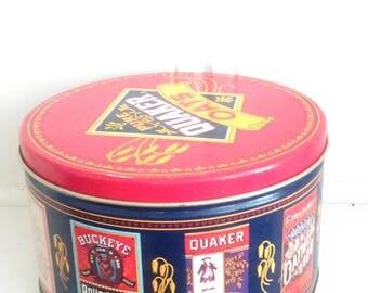 Vintage 1991 Pure Quaker Oats Tin /  Tin Collectibles / Home Decor / Storage Tin  / Farmhouse Decor / Cottage Decor