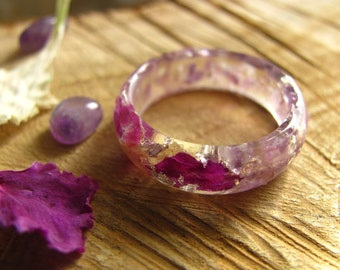 Amethyst Ring, Gemstone Resin Ring, Crystal Ring, Purple Flower Resin Ring, Healing Stone, Chakra Ring, Engagement Nature Ring, Mineral Ring