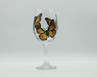Monarch Butterfly Hand Painted Wine Glass Black White Orange Yellow Stained Glass