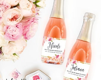 Set of Be My Bridesmaid Custom Mini Champagne Bottle Labels - Spring Wedding for Bridesmaid Box Proposal - Bridesmaid Card - From (4) Labels