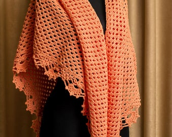 Triangle shawl pattern, Lace crochet pattern shawl, stole crochet patterns, crochet shawlette pattern, Crochet Shawl, Instant Download /1002