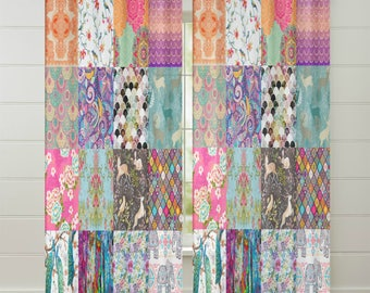 Boho Chic Faux Patchwork, Gypsy Quilt   Curtains Chiffon Sheers Two Sizes
