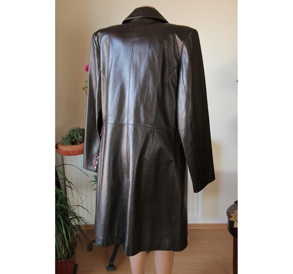 Leather long coat/dark brown/leather long  jacket