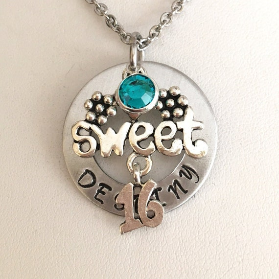 Sweet 16 Necklace 16th Birthday Teenager Necklace
