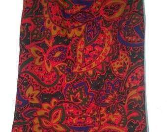 70s Skirt red Abstract Designer skirt Wool  SkirtVINTAGE80ss SKIRT  Wool Skirt Skirt 36-38