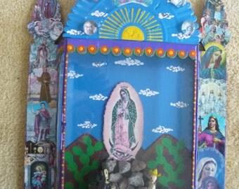La Virgen de Guadelupe Large Nicho Mexican Folk Art Devotional  Wall Hanging