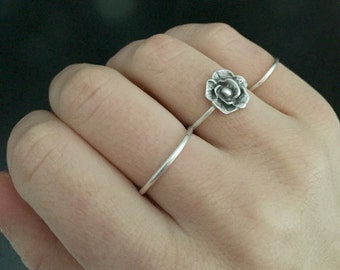 Rose ring | silver rosebud ring | rose jewelry | solid sterling silver cast jewelry