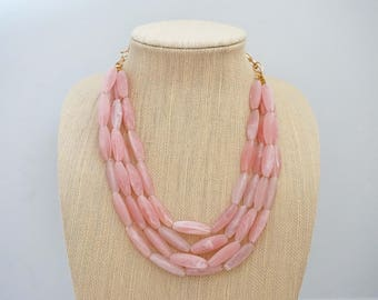Blush Pink Beaded Statement Necklace