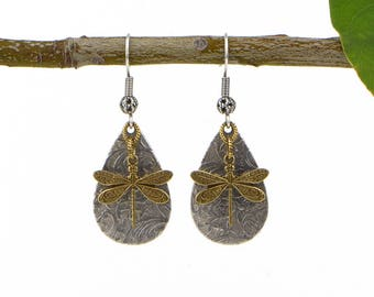 Boho Dragonfly Earrings, Dragonfly Jewelry, Rustic Mixed Metal Jewelry Earrings, Silver Dragonfly Jewelry, Boho Jewelry Gift Ideas