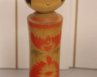 Beautiful Vintage Kokeshi Doll, Turned Doll, Japan Wooden Dolls, artist signed