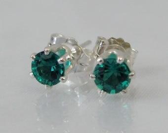 Emerald Stud Earrings, 4mm Russian Emerald Gemstone, May Birthstone Gift, Emerald Post Earrings, Hydrothermal Lab Emerald, Sterling Silver