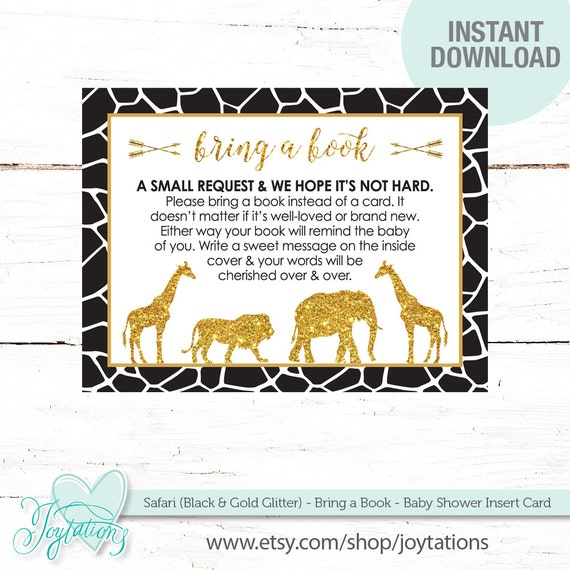 safari black and gold glitter bring a book baby shower insert card