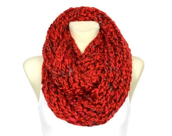 Cranberry Knit Scarf Knit Infinity Scarf Winter Knit Scarf Chunky Knit Scarf Gift Womens Gift for Her Gift for Women Christmas Gift for Mom