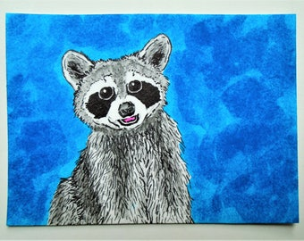 """The Raccoon #234 (ARTIST TRADING CARDS) 2.5"""" x 3.5"""" by Mike Kraus"""