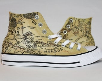 Map of Middle Earth Authentic Converse Lord of the Rings Shoes