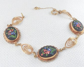 Vintage 1940's Gold Filled Amco Glass Petit Point Link Bracelet Unique 1940's Petit Point Bracelet Gold Filled 40's Bracelet Gift for Her
