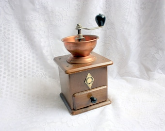 Vintage Coffee Grinder with Copper Cup, Forged Coffee Grinder, Coffee Mill, West Germany Coffee Grinder