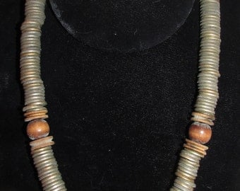 African Ebony Seed Pendant and Metal Necklace,  Silver Tone Metal Washers, Wooden Bead Necklace