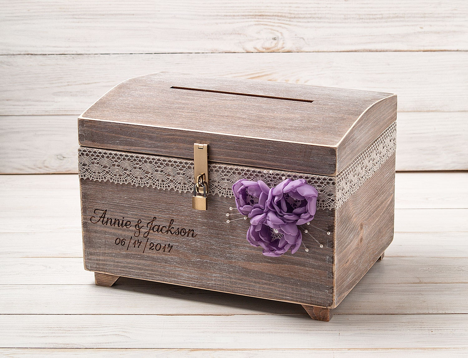 Large Wedding Card Box With A Lock And Key Keepsake Chest