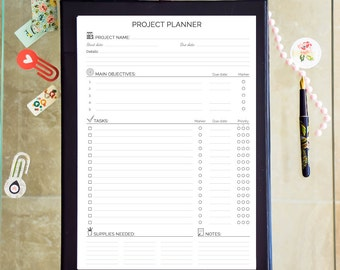 Project Management Printable PDF Project Planner Project Organizer Project Steps Tracker Goals Planner Life Organization Instant Download