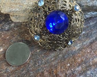 Cobalt Blue Rhinestone Brooch Blue Filigree Brooch Blue Statement Brooch Something Blue Wedding Brooch Bridal Accessory Blue Wedding