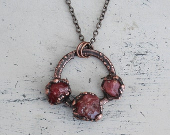 Raw Electroformed Red Garnet Crystal Hoop Circle Ring Pendant/Necklace in Rustic Copper